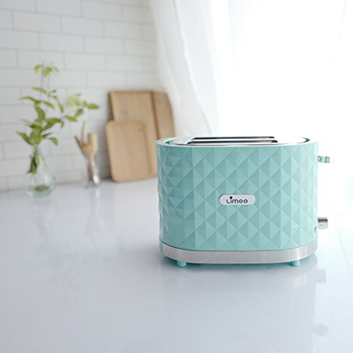 Limee TR0203-bun warmmer 2 slice toaster with wide slots glossy plastic mint