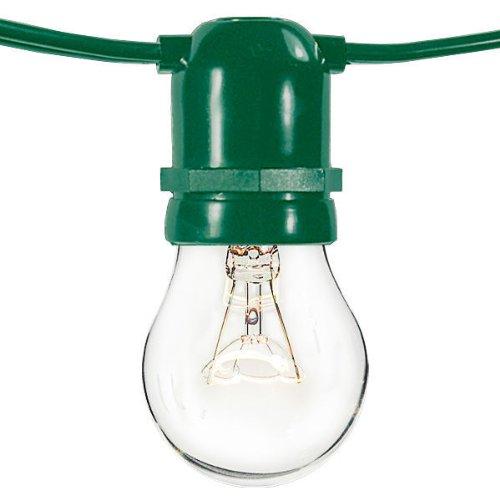 (24 Sockets) 48 ft. - Commercial Duty - Patio Light Stringer - Medium Base - Green Wire - 120 Volt