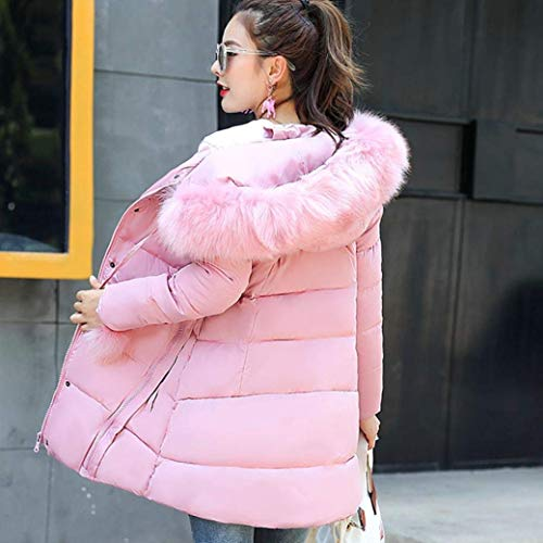 Moda Termica Outdoor Acolchado Rosa Con Espesar Pluma Invierno Tallas Mujer Grandes Outwear Abrigo Manga De Parka Piel Fit Largo Elegante Áspera Largos Capucha Retro Casuales CqRUwA0