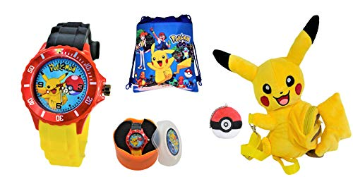 Pokemon Pikachu Gift Set for Kids.Quartz Analog Wrist Watch,Shoulder Plush Toy Bag,Drawstring Bag. by PIKACHU
