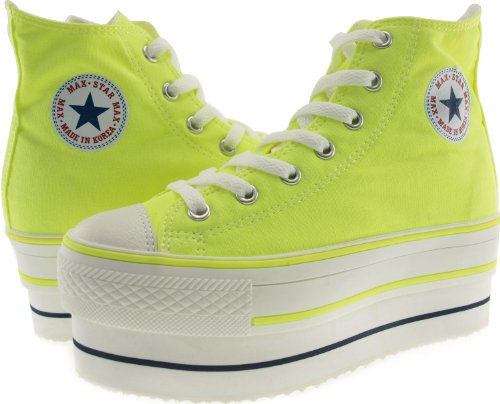 Zipper 7 Double Shoes High Neon Holes Maxstar CN9 Sneakers Platform Green Top qtS5nfn