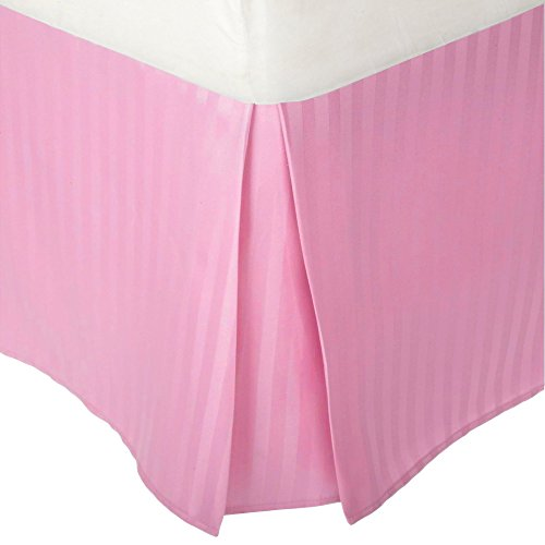 """Pink Twin Bedskirt - Superior 1500 Series Premium Quality 100% Brushed Microfiber Bed Skirt with 15"""" Drop, Classic Sateen Stripe, Pleated Sides and Split Corners, Wrinkle and Fade Resistant - Twin XL, Pink"""