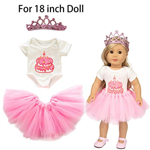 Livoty Doll Clothes for 18 inch Dolls Cute Tutu Skirt T-Shirt Headdress Birthday Cake Printed Clothes Set Girl Toy 18 inch Doll Accessory Gril's Gift (Pink) ()