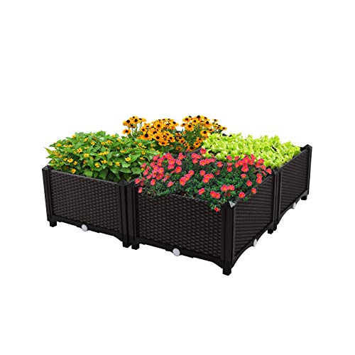 D'vine Dev Easy Grow Raised Garden Beds Planter(32 Inches Height / 32 Inches Wide) – Manual Drain – Indoor/Outdoor Large Polypropylene Resin Raised Garden