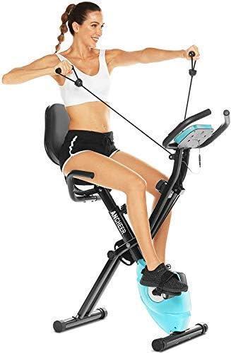 ANCHEER Bicicleta Estatica Bicicleta de Ejercicio Plegable de Interior Perfecto Máquina de Ejercicio en Casa para Cardio, X-Bike con Respaldo