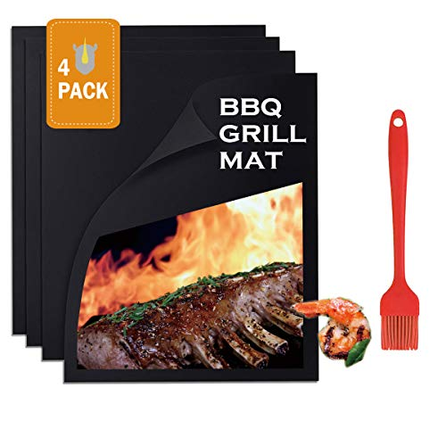 Walk Rhino Grill Mat - Set Of 4 Non Stick BBQ Grill Mats - PTFE (Teflon) Grilling Sheet - Heavy Duty 600 Degree – Safe,Reusable & Easy Clean (A Grill Brush Included)