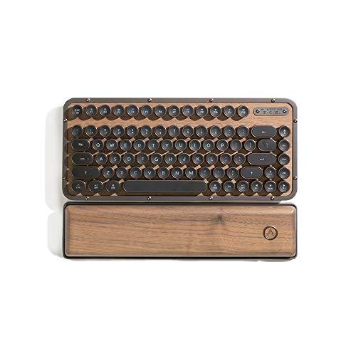 AZIO Retro Compact Keyboard (Elwood) – Bluetooth Wireless/USB Wired Vintage Backlit Walnut Wood Mechanical Keyboard with…