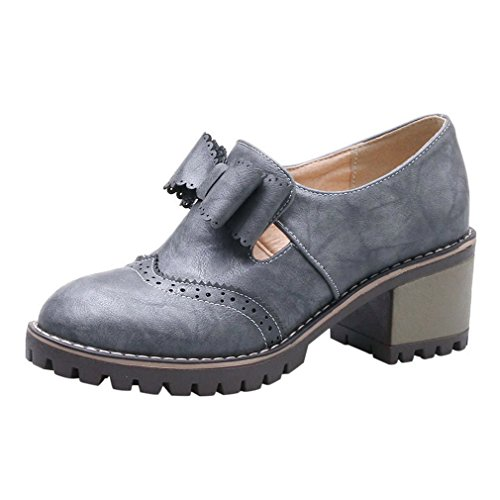 ENMAYER Womens Lolita PU Casual Platform Round toe Mid Block Heel Lace up Ankle Boots High Heels Grey#g2 tX6El