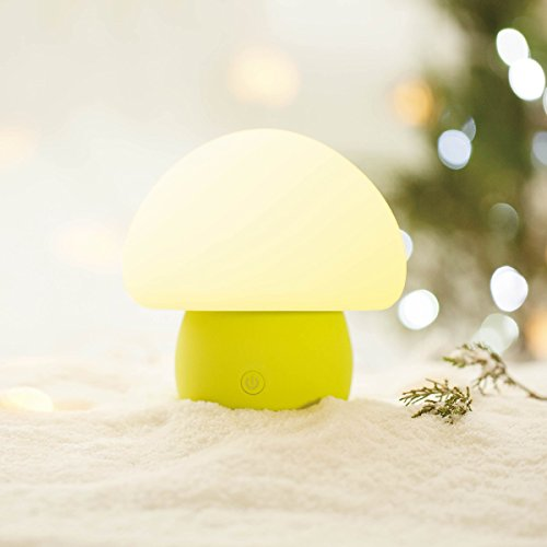 emoi Multicolor Rechargeable LED Baby Night Light, BPA-Free Silicone Cute Mushroom Nursery Night Lamp, Romantic Dim Mood Light with Tap Control.(H0022G)