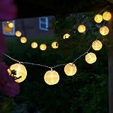 Uping Guirlande Lumineuse Lampion Batterie Etanche 20 LED 3,6 mètres Décoration Intérieure et Extérieure pour Noël Jardin Soirée et Cérémonie(Blanche chaude)
