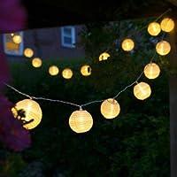 Uping® Led Lichterkette 20er Batterienbetriebene Lampions Laterne für Party, Garten, Weihnachten, Halloween, Hochzeit, Beleuchtung Deko usw. 4,2M warmweiß
