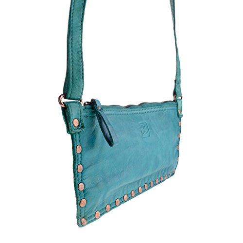 Borsa a tracolla donna in pelle lavata borchie e tracolla DUDU Malachite Green