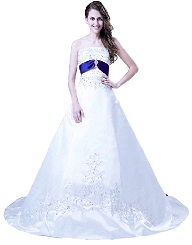 Snowskite Women's Strapless A-line Satin Embroidery Beaded Wedding Dress White&Royal Blue 6