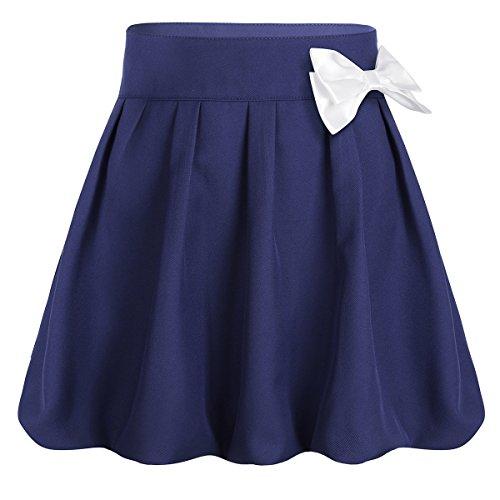 Freebily Big Girl's Classical Pleated School Uniform Dance Skirt Bowknot Scooter Dress with Hidden Shorts Navy Blue 10 ()