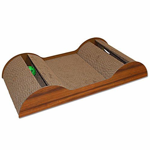 """411KEJ0BwGL - Hiding Pet Cat Scratch And Slide Wave Scratcher For Cats/Kittens, 23"""" L x 12"""" W x 4"""" H, Brown"""