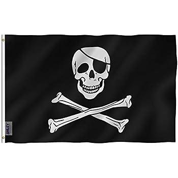 5 feet x 3 feet JOLLY ROGER PIRATE FLAG skull crossbones caravan camping boat