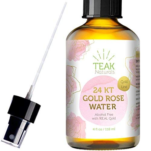 24K Gold Rose Water Facial Toner by Teak Naturals 100% Pure Organic Natural Moroccan Rosewater Hydrosol Face Spray 4 oz ()