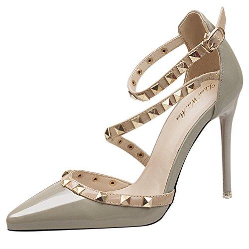 Oasap Damen T-Spang Stiletto High Heels Sandalen Pumps Mit Nieten Grey