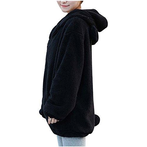 Rigonfio con Nero del Rivestimento Donne del Cappuccio Sportiva dell'Orecchio Cappotto Sveglio del Fumetto della Orso Tuta BOBORA qSw8B8