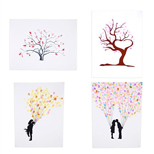 4 Types Fingerprint Tree Custom Wedding Guestbook Wedding Guestbook Poster with 6 Colors Ink, TYPE3#