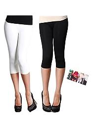 Nikibiki 3/4 Smooth Crop Leggings 2 Pack: White and Black