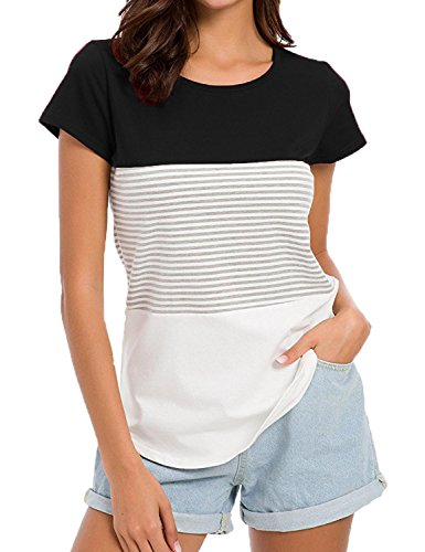 Sechico Women's Short Sleeve Round Neck Triple Color Block Stripe T-Shirt Casual Blouse (Black XXL) - Triple Block