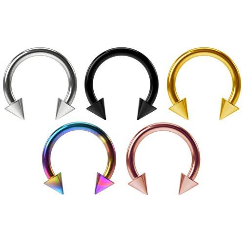 5pc 16g Horseshoe Earrings Circular Barbells Rings Hypoallergenic Helix Eyebrow Septum Piercing - Circular Cone Barbell
