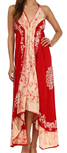 Sakkas 7541 Serenity Embroidered Batik Dress - Red / Cream - One Size