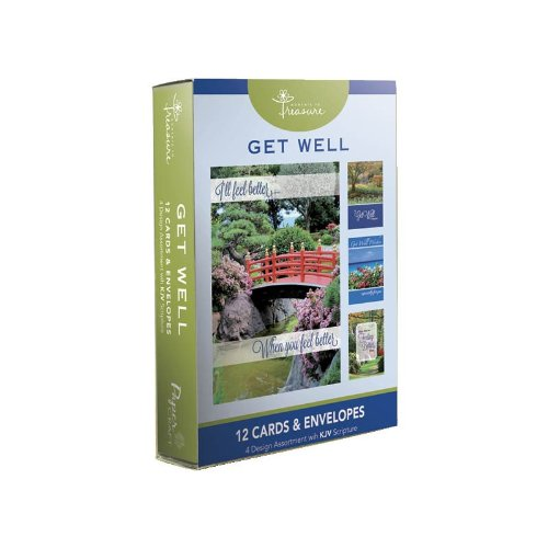 12Pk Boxed Landscape Get Well Cards Bulk With Kjv Scripture   Bridge  Tree  Water  Pathway Greeting Cards Sick For Her For Him Flowers