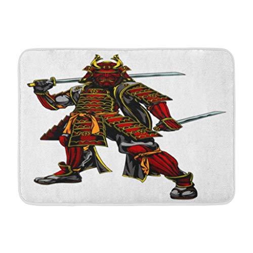 Japanese Art,Darkchocl Decorative Bath Mat Japanese Warrior Standing and Two Absorbent Non Slip 100% Flannel 17''L x 24''W for Bathroom Toilet Bath Tub Living Room -
