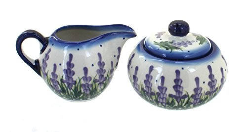 Blue Rose Polish Pottery Lavender Fields Sugar Bowl & Creamer