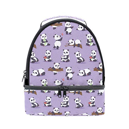 Insulated Double Cute Panda Gifts Purple Lunch Tote Outdoor Bag Portable Lunch Box -