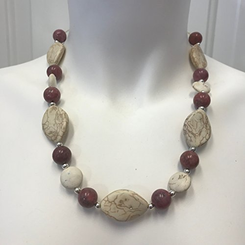Pink Rhodonite and White Magnesite Beaded Necklace with Silver Tone Spacers