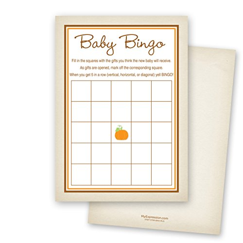 MyExpression.com 24 Little Pumpkin Rustic Border Baby Bingo Cards by MyExpression.com