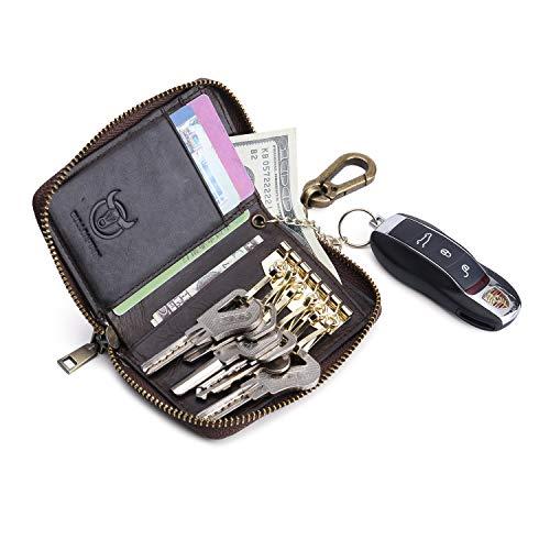 Leather Car Key Case Key Holder Credit Card Holder Multifunctional Zipper Wallet Case