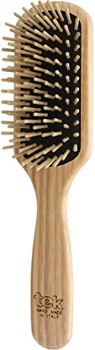 (Tek small paddle hairbrush in ash wood with regular pins - Handmade in Italy)