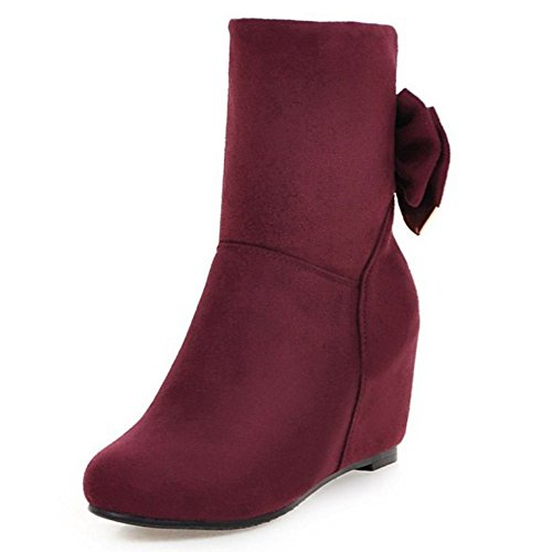 Coolcept Wedges On Boots Bow Boots High Autumn Heel Ladies Red With Booties Dress Wine Slip Z1HrZ