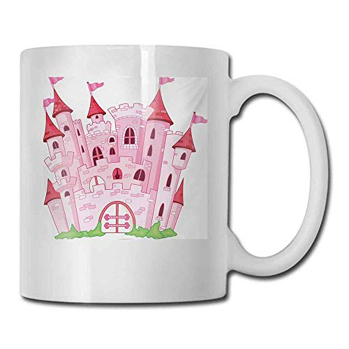 Coffee Cup Fantasy Princess Castle Cute Fairy Tale Princess Magic Kingdom Cartoon Illustration Art for Office and Home 11 oz Pink White