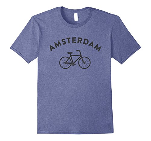 Mens Amsterdam T-Shirt City Bike Retro Style Cycling Tee Shirt  Large Heather (Amsterdam Tee)