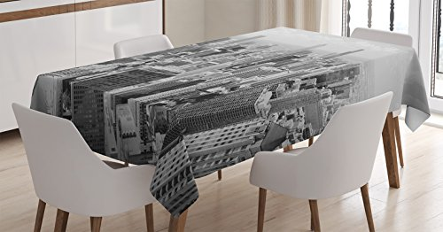 Ambesonne Apartment Decor Tablecloth by, Chicago Skyline Aerial View Contemporary Famous Touristic Places Picture, Dining Room Kitchen Rectangular Table Cover, 60 X 84 Inches (Skyline Dining)
