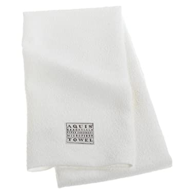 Aquis Microfiber Hair Towel, Lisse Crepe, White (19 x 39-Inches)