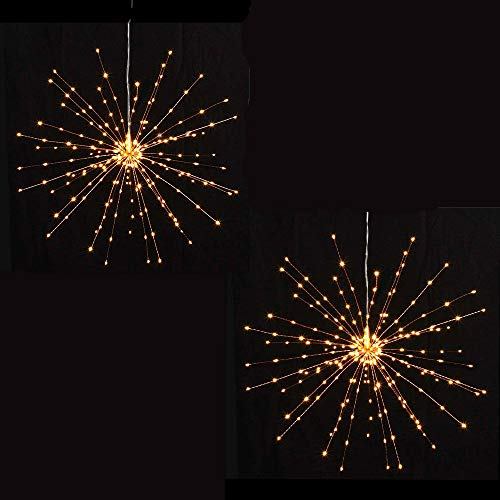 PXB 2 Pack Starburst Sphere Lights,200 Led Firework Lights, 8 Modes Dimmable Remote Control Waterproof Hanging Fairy Light, Copper Wire Lights for Patio Parties Christmas Decoration (Warm White) by PXB (Image #1)