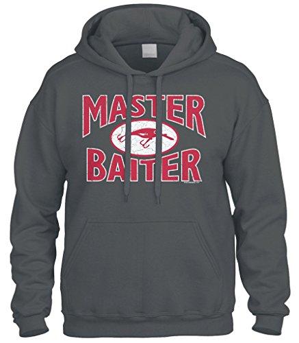 Cybertela Master Baiter Fish Lure, Funny Fishing Sweatshirt Hoodie Hoody (Charcoal, Large)