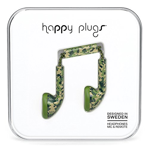 Happy Plugs 7741 Earbud Headphones, Camouflage