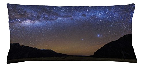 Star Throw Pillow Cushion Cover by Lunarable, Milky Way at Tasman Valley Mount Cook National Park Canterbury New Zealand Sky, Decorative Square Accent Pillow Case, 36 X 16 Inches, Blue - Of New Stores Zealand Canterbury