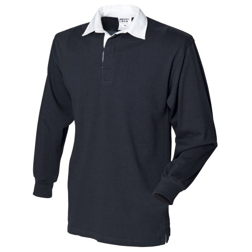 Front Row Mens Long Sleeve Sports Rugby Shirt - Large / Chest 40 - 42in - Black