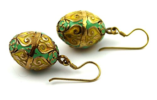 Bronze Multicolor Enameled Faberge Egg , Easter Egg , Russian Eggs, Dangle Earrings Fish Hook Thailand Made Jewelry (Green-Yellow)