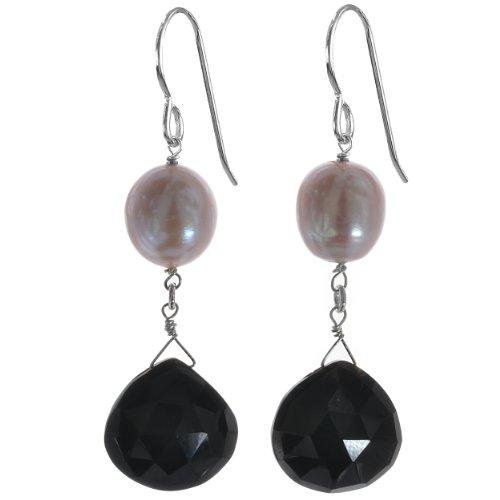 Cultured Pearl Onyx - ASHANTI Pink Freshwater Cultured Pearl and Black Onyx Natural Gemstone Sterling Silver Handmade Earrings