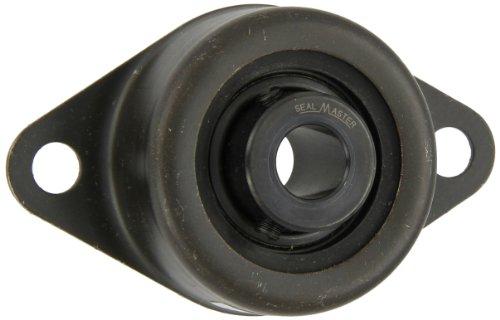 "Sealmaster SRF-12 Standard-Duty Flange Unit, 2 Bolt, Rubber Mounted, Felt Seals, Setscrew Locking Collar, Pressed Steel Housing, 3/4"" Bore, 4-1/2"" Overall Length, 3-5/8"" Bolt Hole Spacing Width, ±2 Degrees Misalignment Angle"