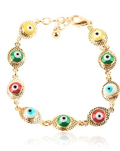 Multi Colored Gold Plated Evil Eye Bracelet, Model: , Electronic Store